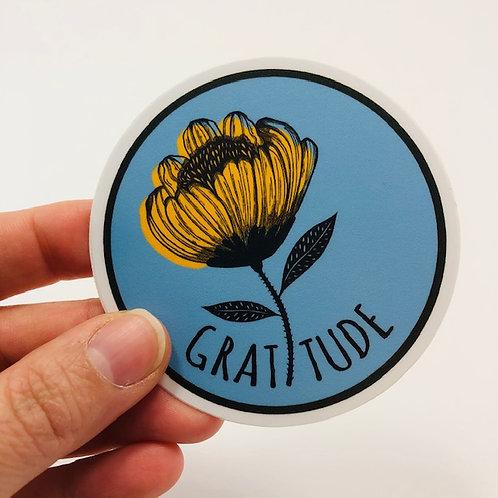 Round gratitude sticker