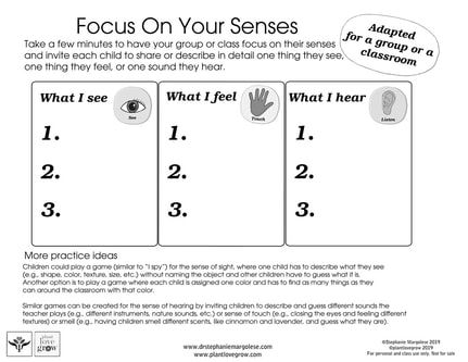 Brain team T3 Focus on senses classroom.