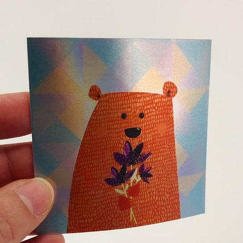 Little bear holographic sticker