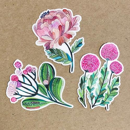 Set of 3 Flower stickers