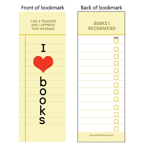 I love books - bookmarks - pack of 10