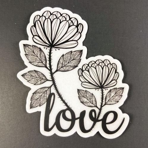 Love flower - transparent sticker