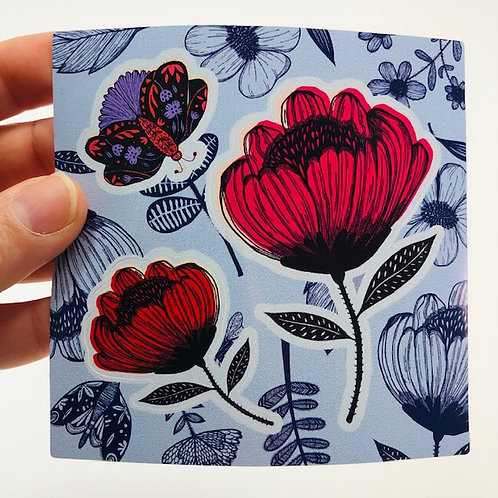 Flowers and butterfly kiss cut sticker