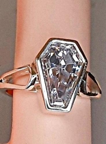 3ct Bezel Set Solitaire Ring - Size 7
