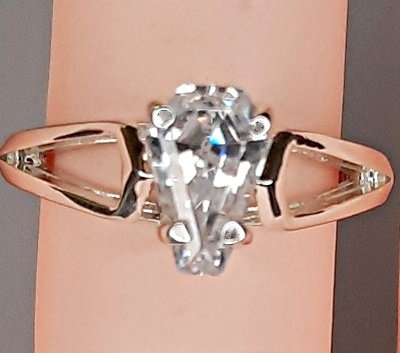 2ct Silver Designer Soitaire Ring - Ghost - Size 7