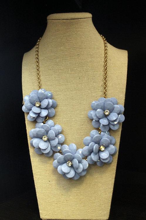 Blue Flower Burst Necklace