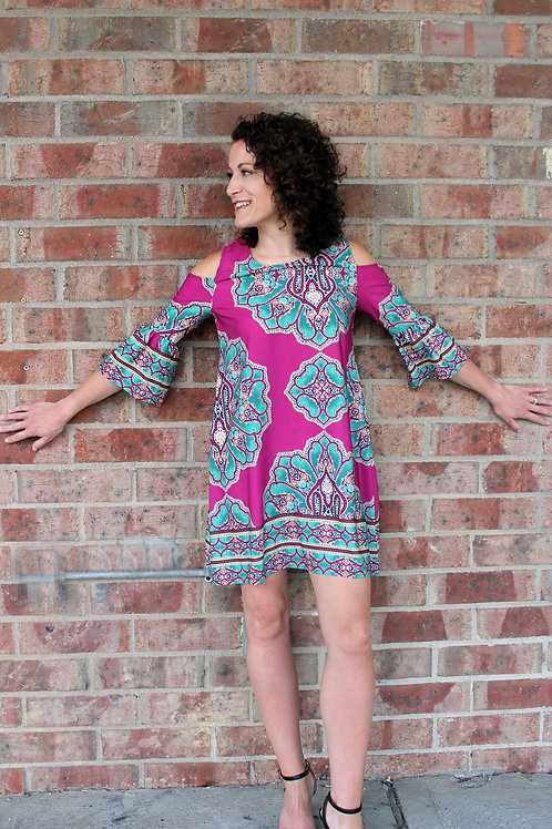Fuschia Print Cold Shoulder Dress