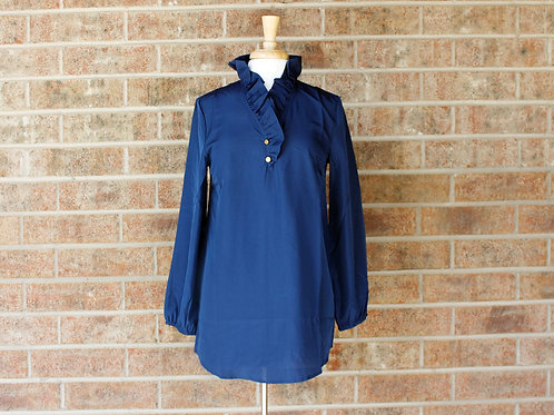 Navy Whitney Ruffle Tunic