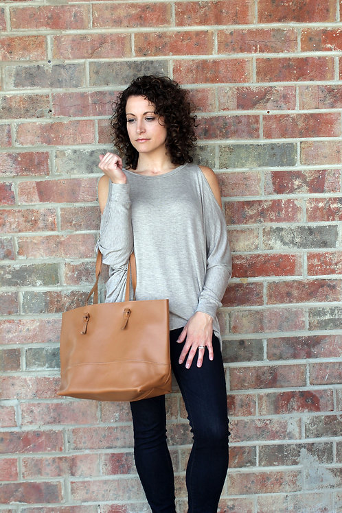 Taupe Cold Shoulder Blouse