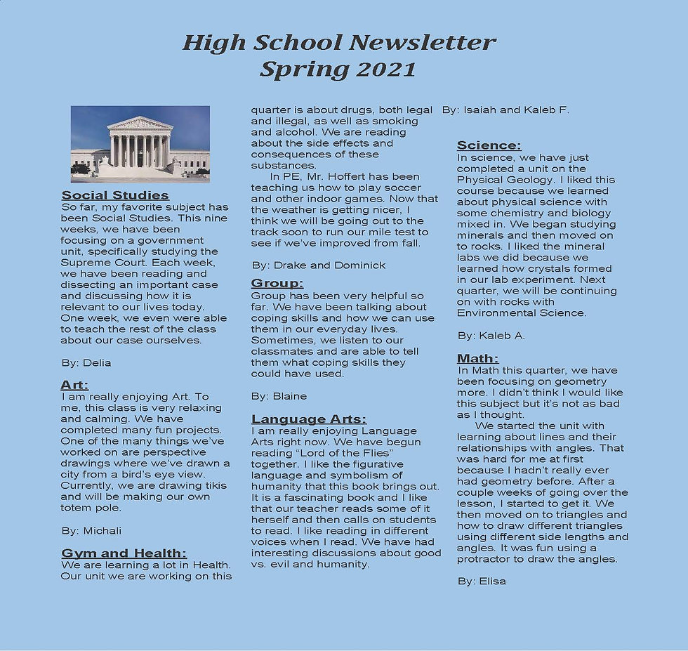 Beattie Classroom 4 quarter 3 newsletter