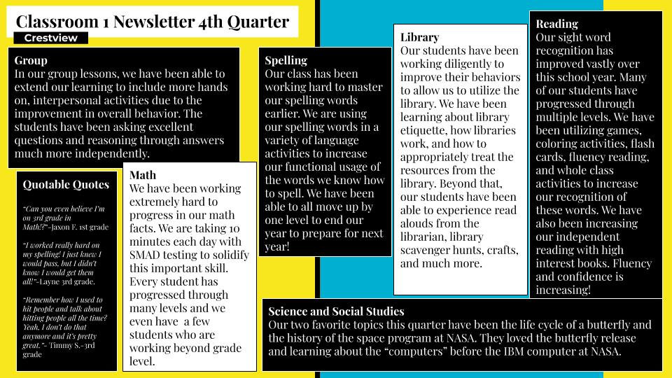 Classroom 1 Newsletter 4th Quarter River