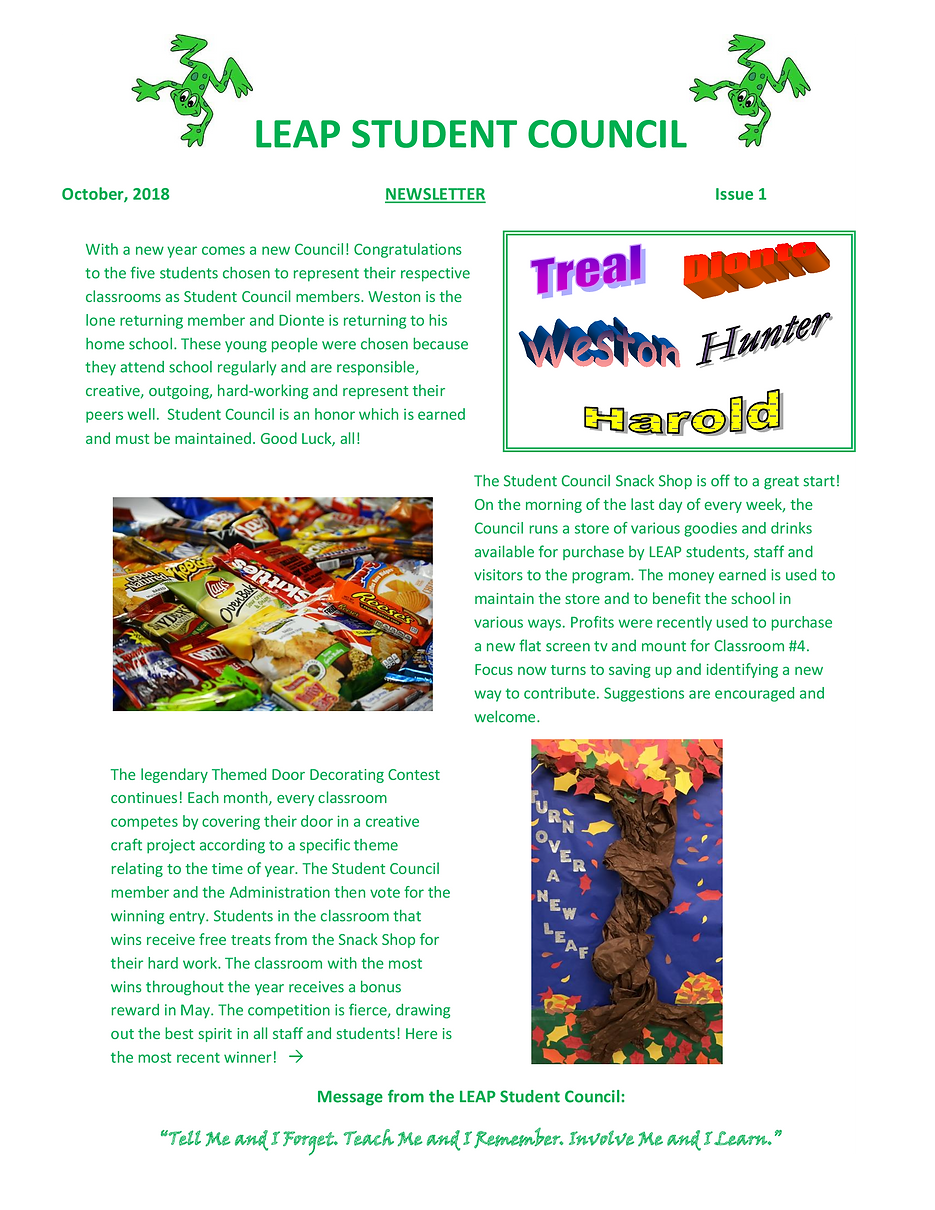 LEAP-STUDENT-COUNCIL-Newsletter10-2018-.