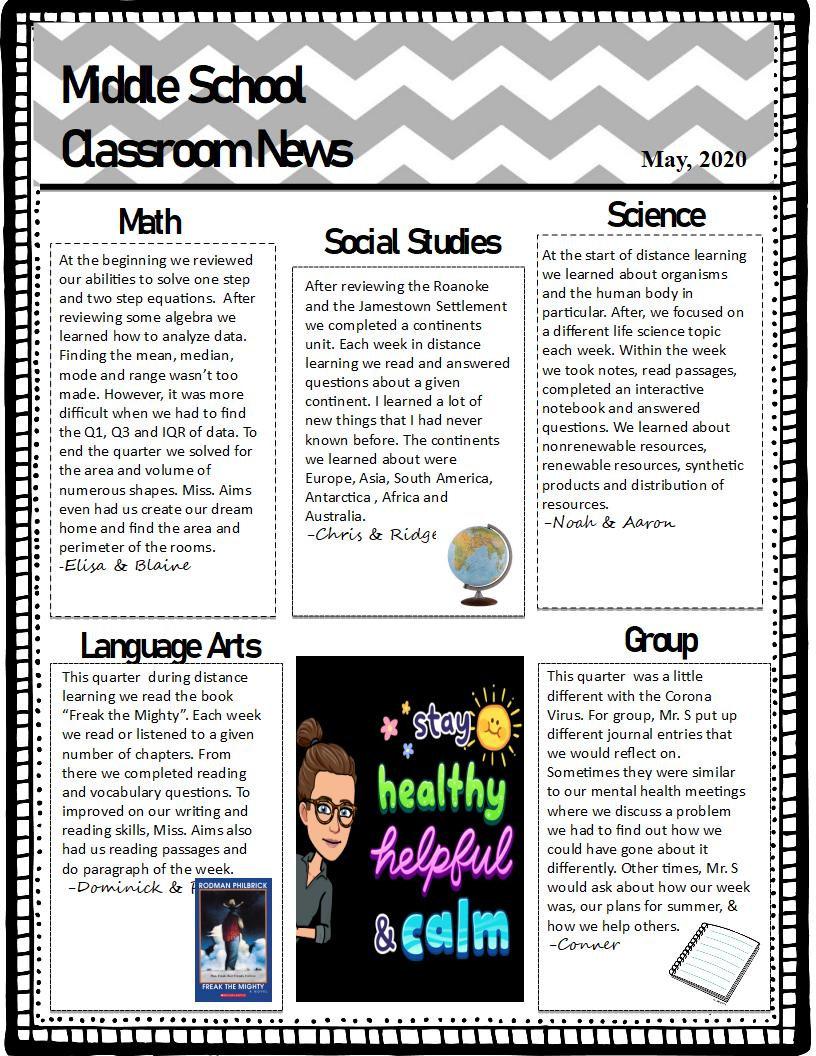 Classroom 3 Newletter Qrt 4 (2019-2020).
