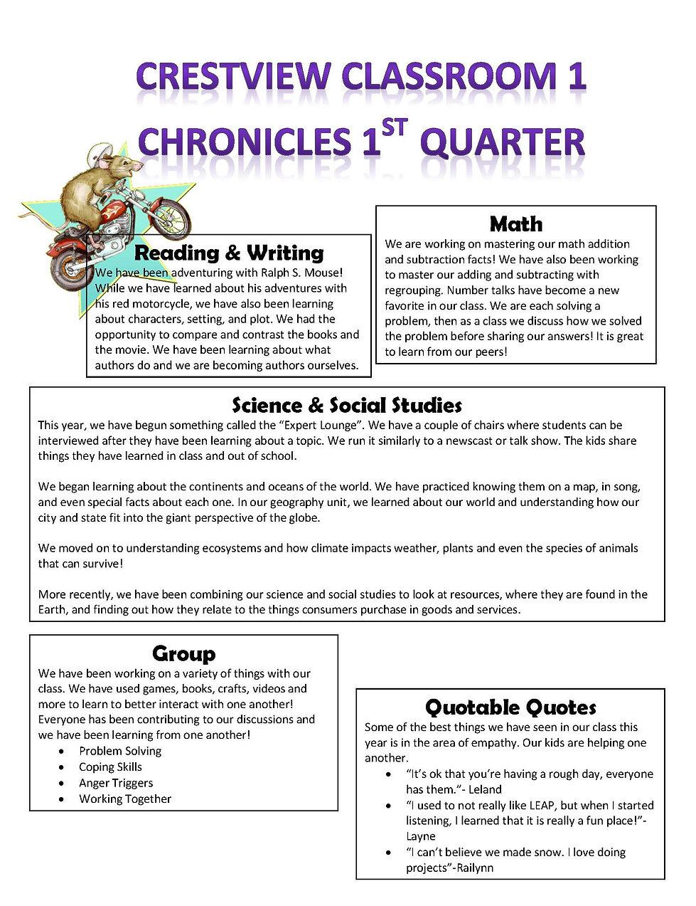 Quarter 1 Newsletter Classroom 1 2019 20