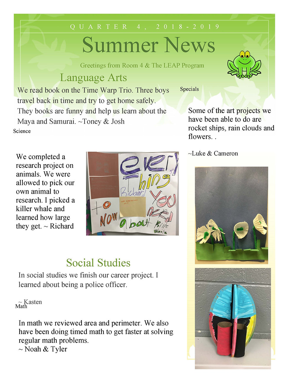 Classroom 4 Newsletter 4th Quarter River