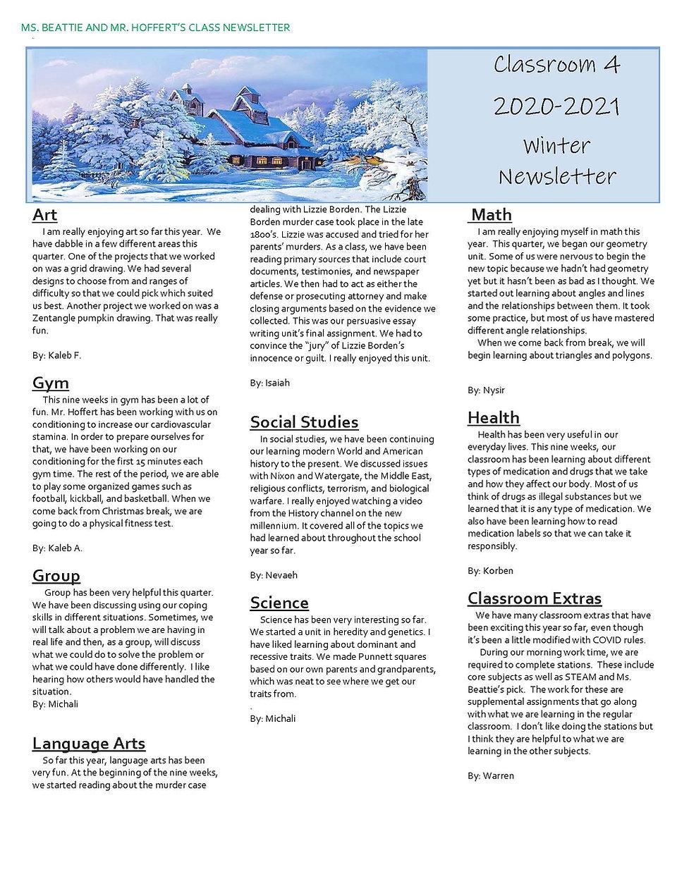 Beattie Classroom 4 Quarter 2 Newsletter