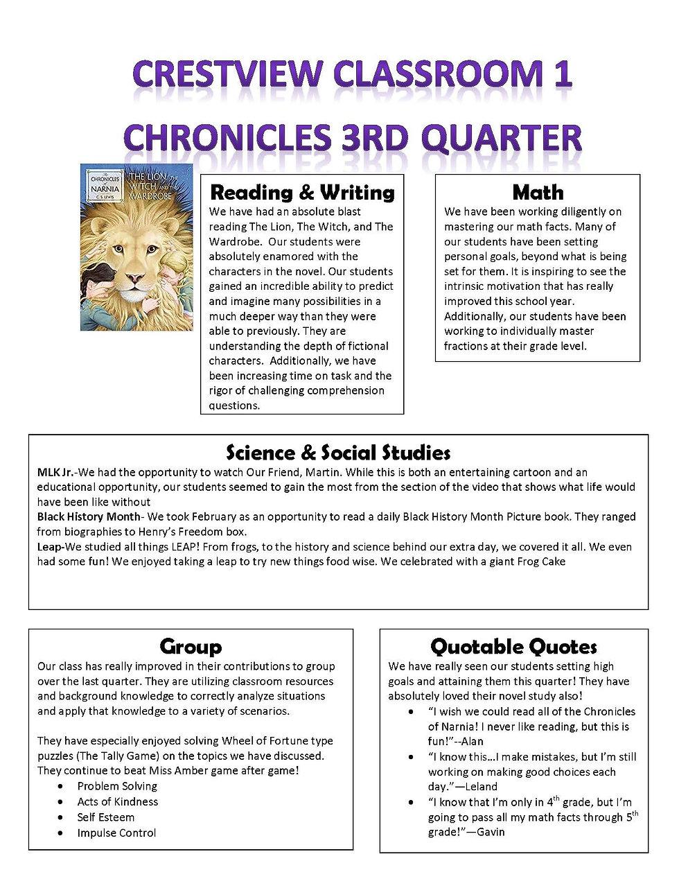 Quarter 3 Newsletter 2019 2020 Classroom