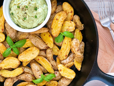 Roasted Fingerling Potatoes with Avocado Cannellini Dip