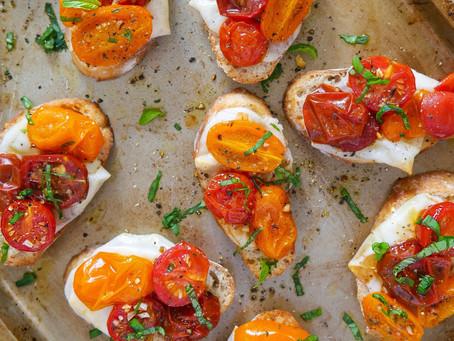 Roasted Grape Tomatoes on Mini Toasts