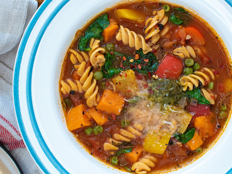 Chickpea Pasta Soup with Pesto