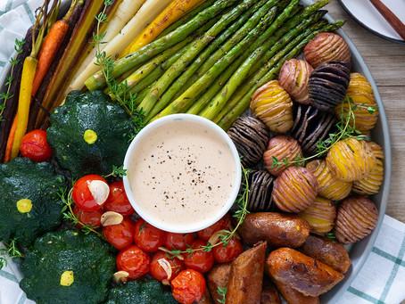 Roasted Patty Pan Squash, Summer Vegetables & 'Sausage' Platter