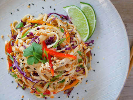 Udon Noodles with Spicy Peanut Tahini Sauce