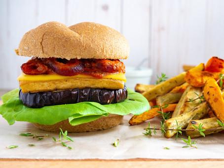 Tofu & Eggplant Sandwich with Tomato Onion Sauce