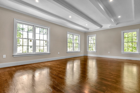 Living room with ceiling millwork