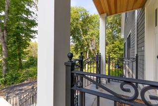 Decorative wrought iron porch railing