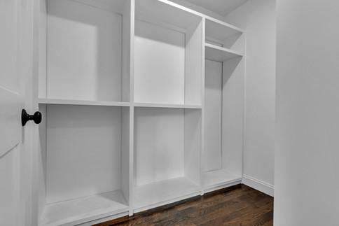 Small walk-in closet storage shelves