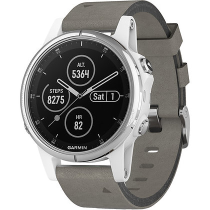 Garmin fenix 5S Plus Sapphire Sport Training GPS (42mm, White Gray Suede Band)