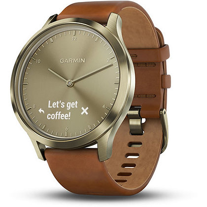 Garmin vivomove HR Premium Watch (Small/Medium, Gold, Light Brown Leather Band)