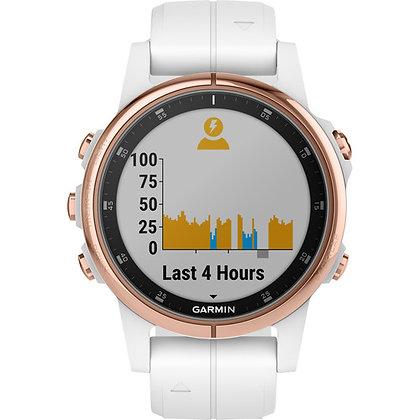 Garmin fenix 5S Plus Sapphire Sport Training GPS (42mm, Rose Gold, White Band)