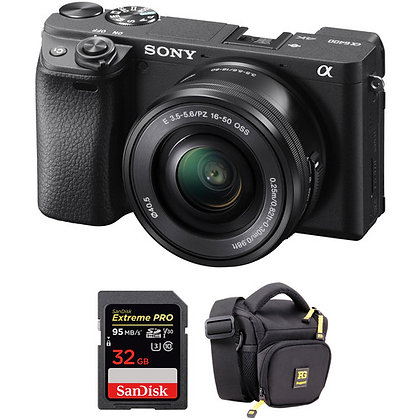 Sony Alpha a6400 Mirrorless with 16-50mm Lens | Bag | Memory Bundle A