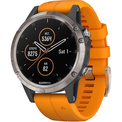 Garmin fenix 5 Plus Sapphire Sport GPS (47mm, Titanium with Solar Flare Orange)