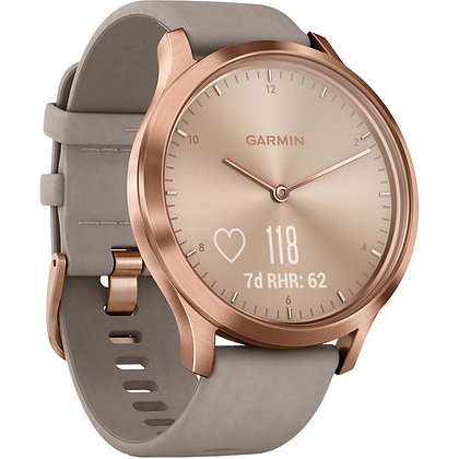 Garmin vivomove HR Premium (Rose Gold Stainless Steel Case with Gray Suede Band)