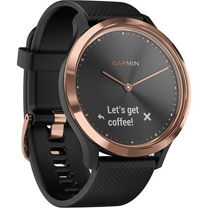 Garmin vivomove HR Sport Watch (Small/Medium Rose Gold with Black Silicone Band)