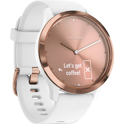 Garmin vivomove HR Sport Watch (Small/Medium Rose Gold with White Silicone Band)