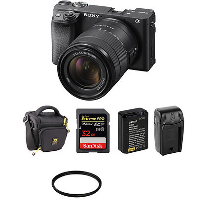 Sony Alpha a6400 Mirrorless with 18-135mm | Bag | Memory | Battery | Bundle B