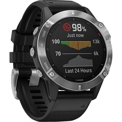 Garmin fenix 6 Multisport GPS Smartwatch 47mm Silver / Black Band