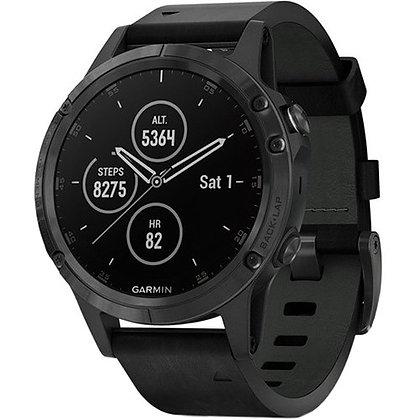 Garmin fenix 5 Plus Sapphire Sport Training GPS (47mm, Black, Leather Band)