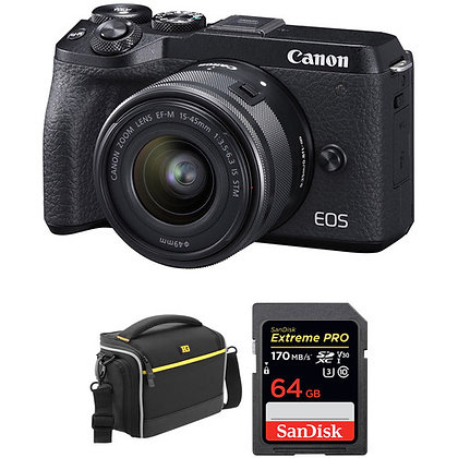 Canon EOS M6 Mark II Mirrorless Digital Camera with 15-45mm Lens Bundle A