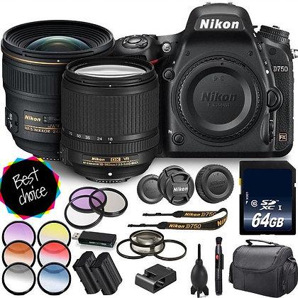 Nikon D750 Digital SLR Camera with 18-140mm & 24mm Lenses Bundle F