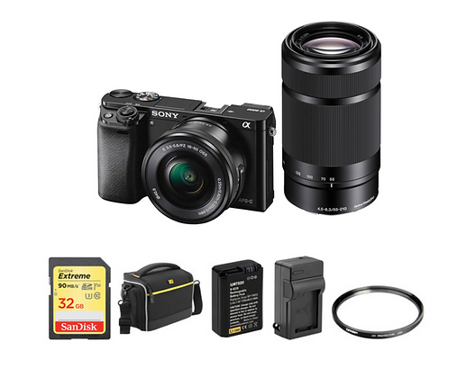 Sony Alpha a6000 Mirrorless with 16-50mm and 55-210mm Lenses kit (Black)