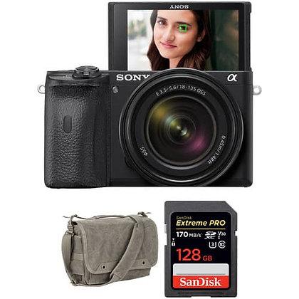 Sony Alpha a6600 Mirrorless Digital Camera with 18-135mm + Bag + Memory Bundle A
