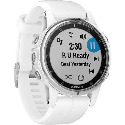 Garmin fenix 5S Plus Sapphire Sport Training GPS Watch (42mm, White, White Band)