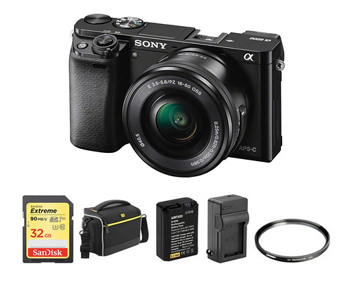 Sony Alpha a6000 Mirrorless with 16-50mm Lens Deluxe Kit (Black)