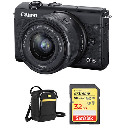 Canon EOS M200 Mirrorless Digital Camera with 15-45mm Bundle A
