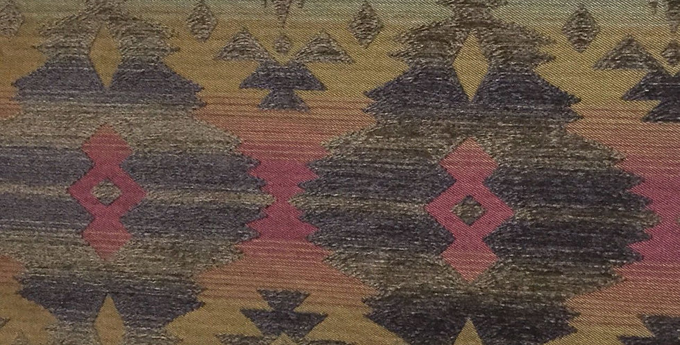Gold, Cranberry, Sea foam, Brown Ikat -Southwest Upholstery Fabric - Upholstery