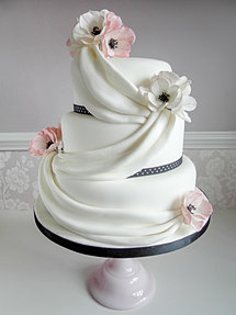Pink Anemone And Swags Wedding Cake